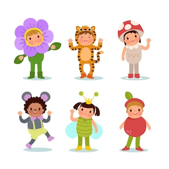Conjunto de niños de carnaval de dibujos animados