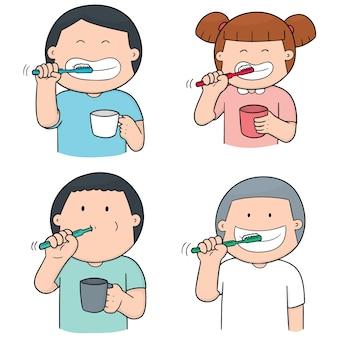 Conjunto de niños cepillarse los dientes