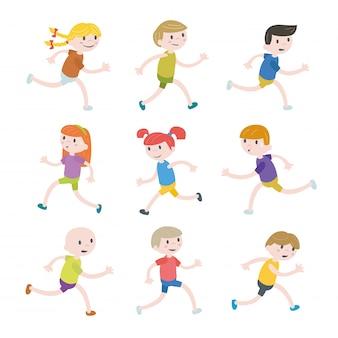 Conjunto de niños corriendo