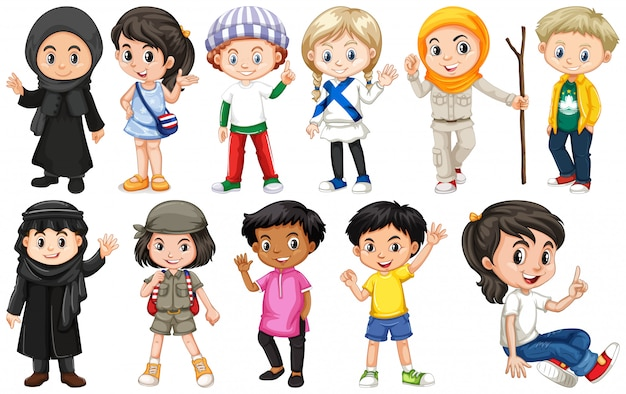 Conjunto de niños de diferentes países.