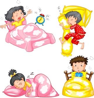 Conjunto de niños durmiendo