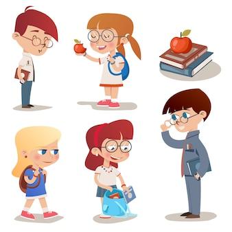 Conjunto de niños de escuela de personajes de estilo vintage de vector