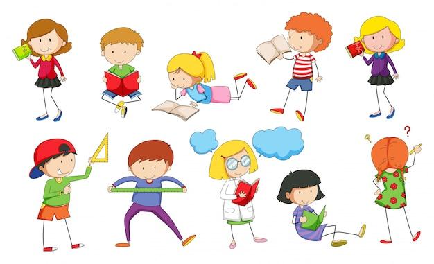 Conjunto de niños estudiando ilustración