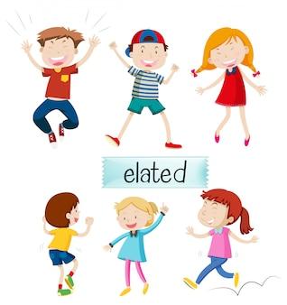 Conjunto de niños eufóricos