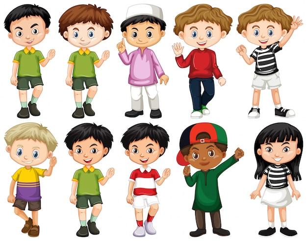 Conjunto de niños felices agitando la mano