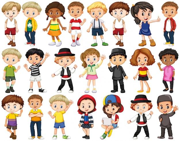 Conjunto de niños felices agitando las manos