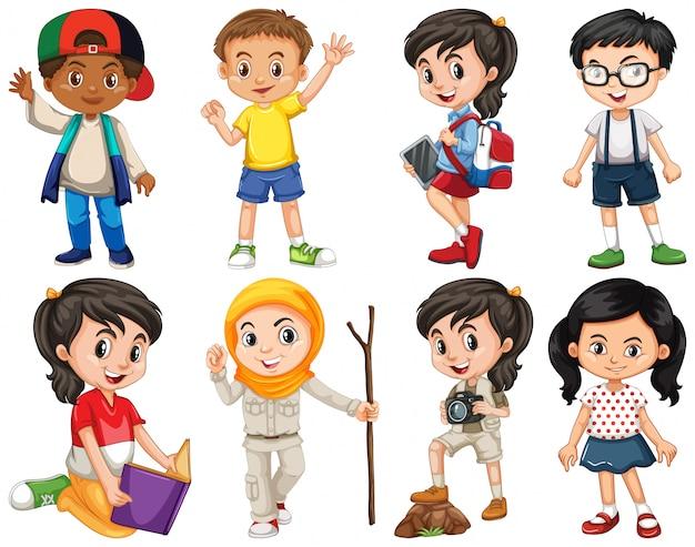 Conjunto de niños felices haciendo diferentes acciones