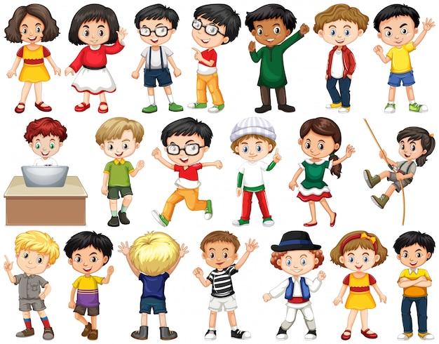 Conjunto de niños felices saludando
