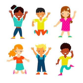 Conjunto de niños felices sonrientes de diversas etnias y géneros en estilo de dibujos animados