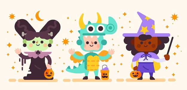 Conjunto de niños festival de halloween