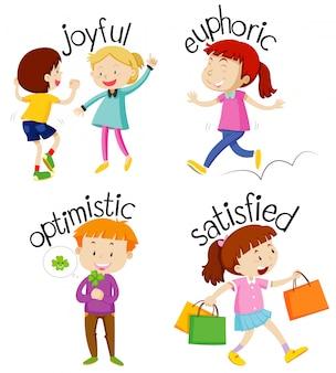 Conjunto de niños haciendo actividades con adjetivos