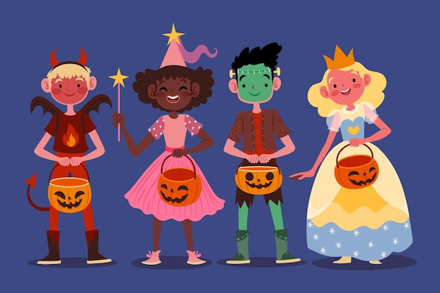 Conjunto de niños de halloween dibujados