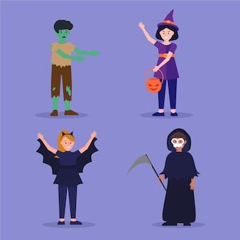 Conjunto de niños de halloween de diseño plano