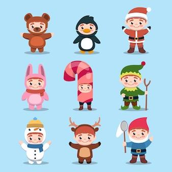 Conjunto de niños lindos con ilustración de diseño de traje de navidad