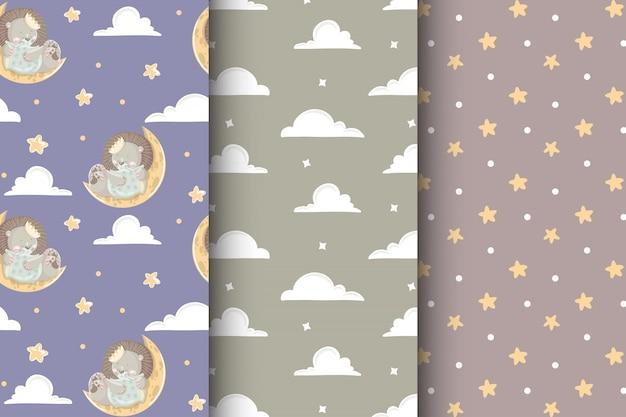 Conjunto de niños lindos de patrones sin fisuras con bebé león, nubes y estrellas