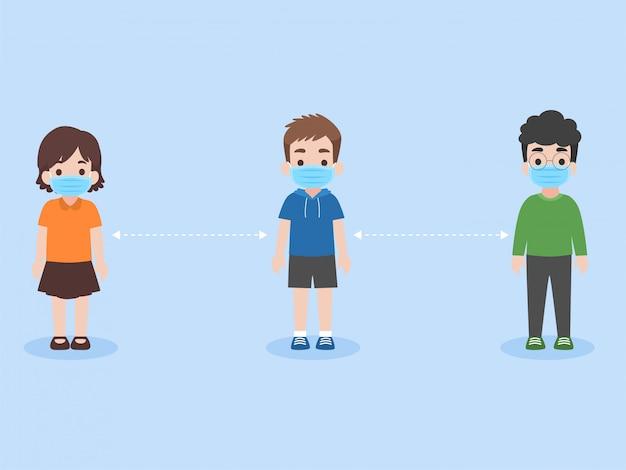 Conjunto de niños mantener distancia social