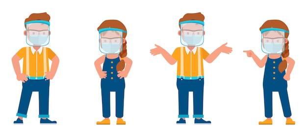 Conjunto de niños con máscara médica y protector facial. presentación en diversas acciones con emociones.
