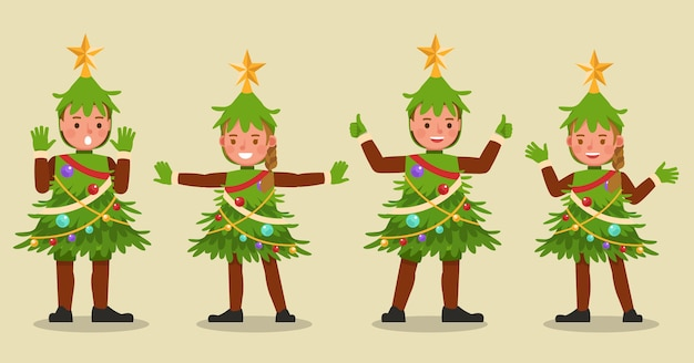 Conjunto de niños niño y niña con personaje de disfraces de árbol de navidad