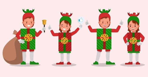 Conjunto de niños niño y niña con personaje de disfraces de caja de regalo de navidad