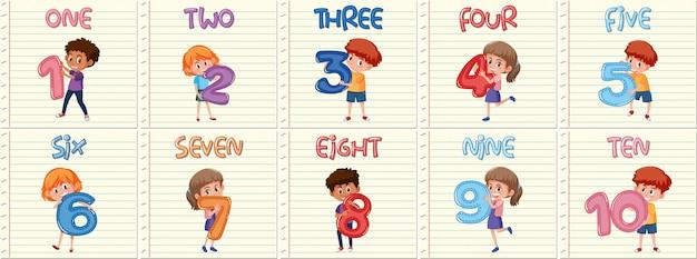 Conjunto de niños con el número uno al diez