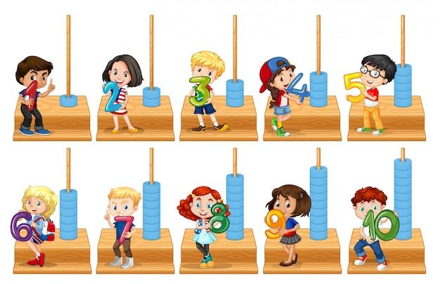 Conjunto de niños con número