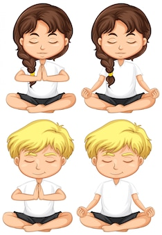 Conjunto de niños pequeños meditando