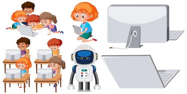 Conjunto de niños que trabajan en la computadora