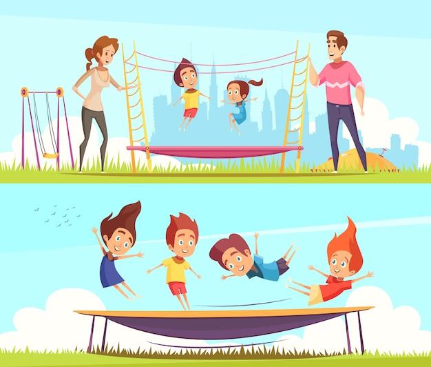 Conjunto de niños saltando en trampolines