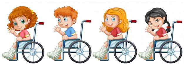 Conjunto de niños en silla de ruedas.