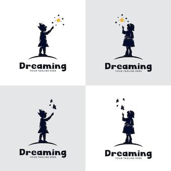 Conjunto, de, niños, sueño, logotipo