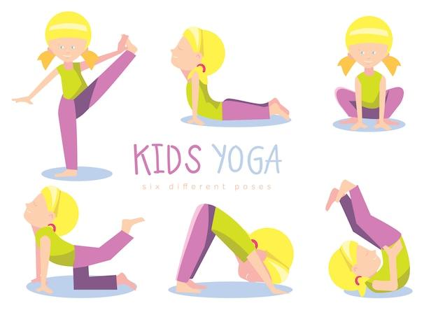 Conjunto de niños yoga, ilustración.