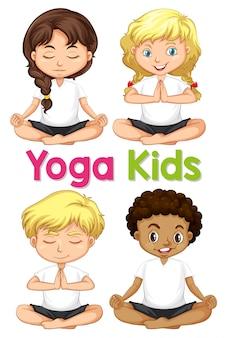 Conjunto de niños de yoga