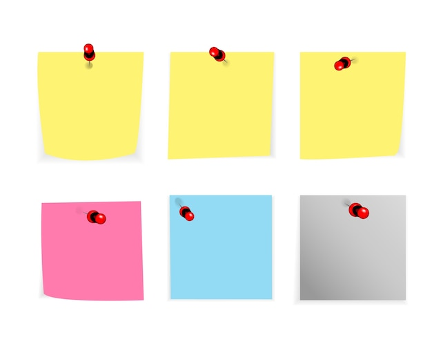 Conjunto de nota rasgada, papel granulado de cuaderno aislado