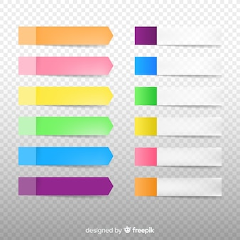 Conjunto de notas adhesivas en estilo realista y diferentes colores