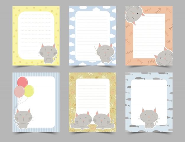 Conjunto de notas de diario lindo con marco de gatos pequeños.