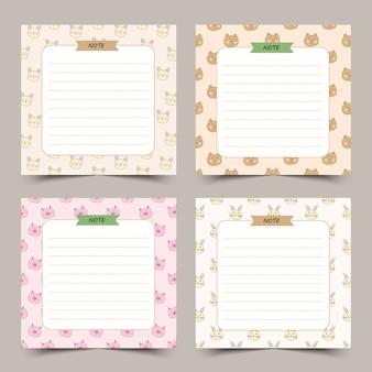 Conjunto de notas de diario lindo con marco de pequeños animales.