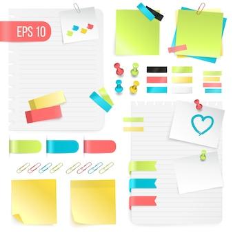 Conjunto de notas de papel de colores