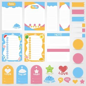 Conjunto de notas de papel lindo. diseño de banner de papel para mensaje. colección de elementos decorativos de planificación.
