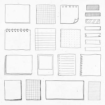 Conjunto de notas de papel recordatorio en blanco