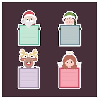 Conjunto de notas post-it con personajes navideños