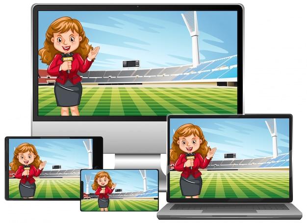 Conjunto de noticias de partidos de fútbol en diferentes pantallas de dispositivos electrónicos aislados