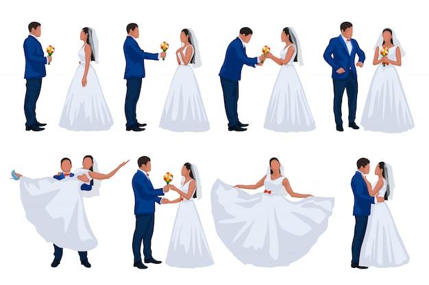 Conjunto de novio y novia de boda