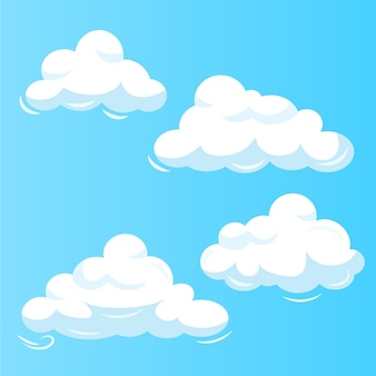 Conjunto de nube de diseño plano