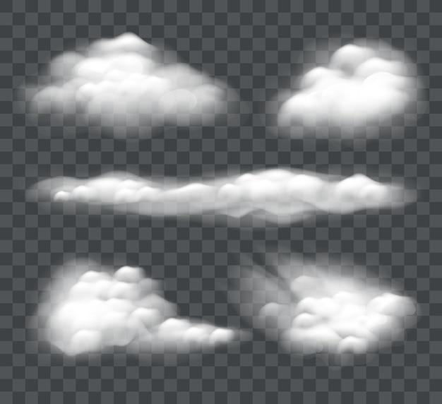 Conjunto de nube realista aislado sobre fondo oscuro