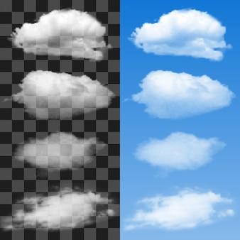 Conjunto de nubes en el cielo azul. ilustración vectorial