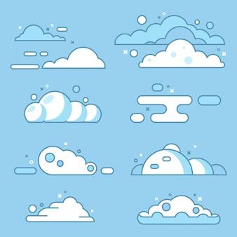 Conjunto de nubes cielo azul con nubes blancas diferentes formas de nubes conjunto de ilustraciones vectoriales de stock