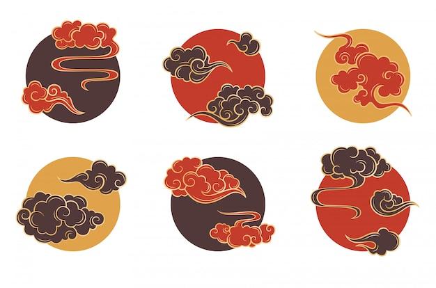 Conjunto de nubes círculo asiático. adornos nublados tradicionales en estilo oriental chino, coreano y japonés
