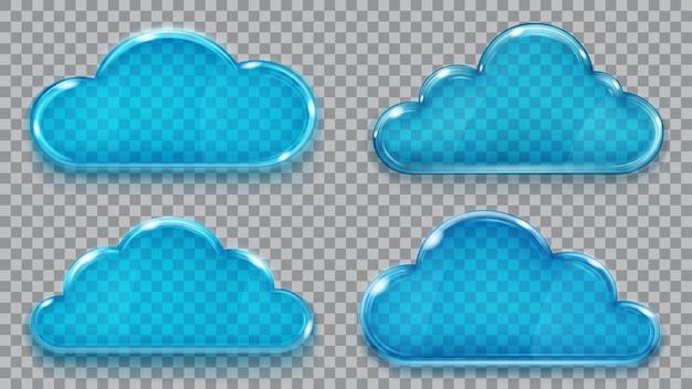 Conjunto de nubes de cristal transparente en colores azules. transparencia solo en formato vectorial. se puede utilizar con cualquier fondo.