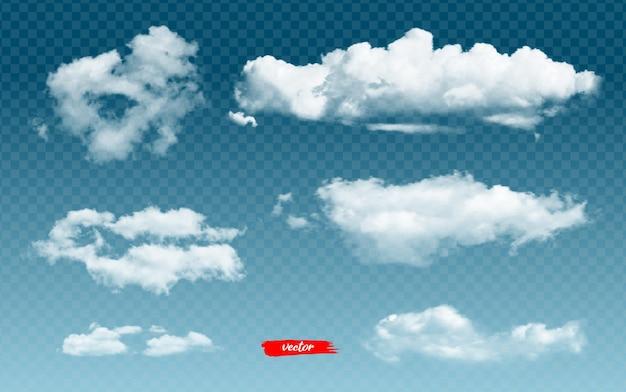 Conjunto de nubes d ilustración vectorial realista de diferentes nubes sobre fondo transparente