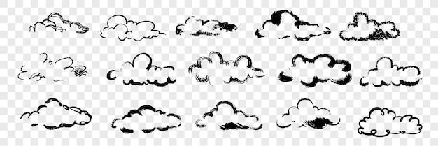 Conjunto de nubes dibujadas a mano. varias nubes dibujadas a mano con pluma o lápiz, tinta o pincel. boceto de elemento de cielo de forma diferente aislado.
